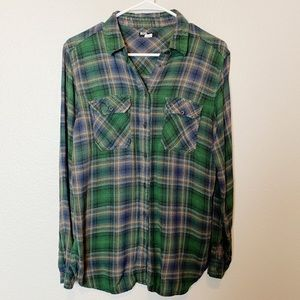 BDG Green Plaid Button Down Plaid Flannel Small